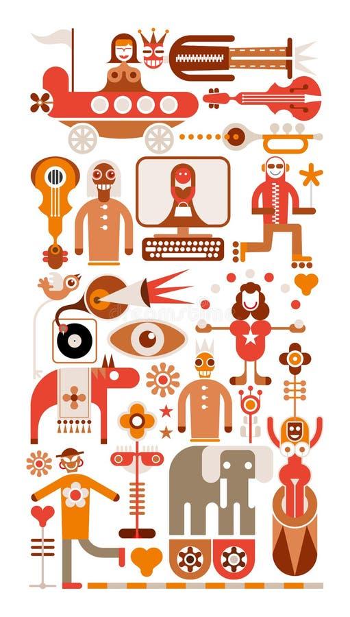Het circus toont - vectorillustratie vector illustratie