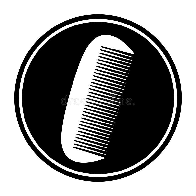 Het cirkel, kleine, witte pictogram van het kamsilhouet Geïsoleerd op wit royalty-vrije illustratie