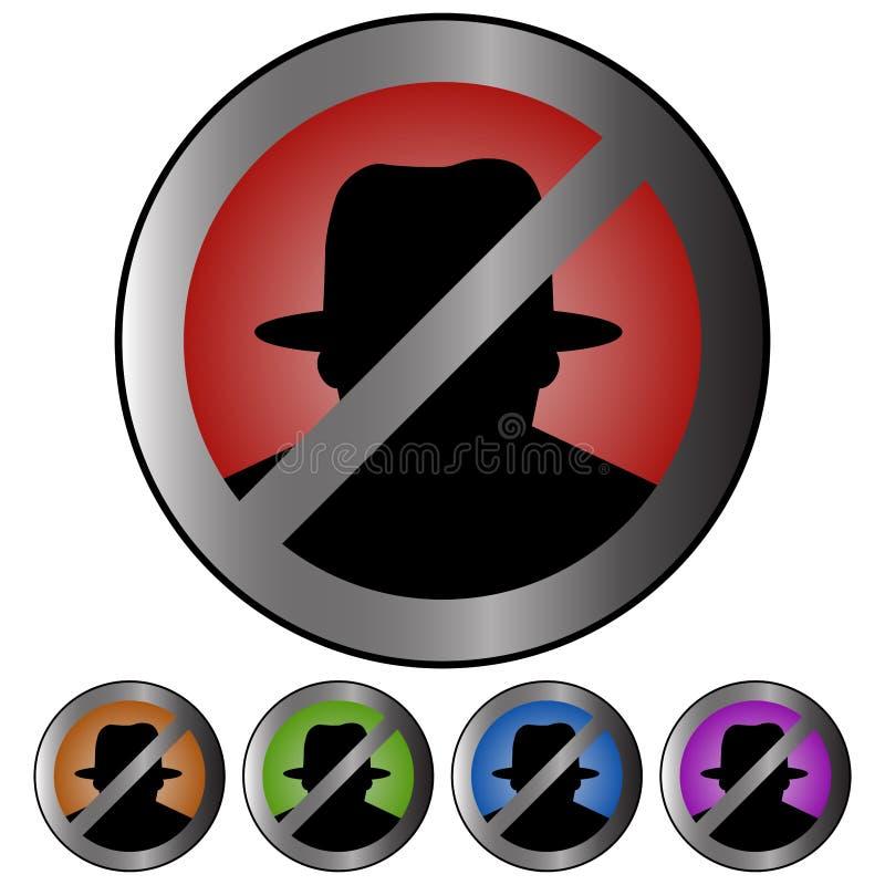 Het cirkel, metaalpictogram van de cyberveiligheid/teken Vijf variaties Het binnendringen in een beveiligd computersysteem teken stock illustratie