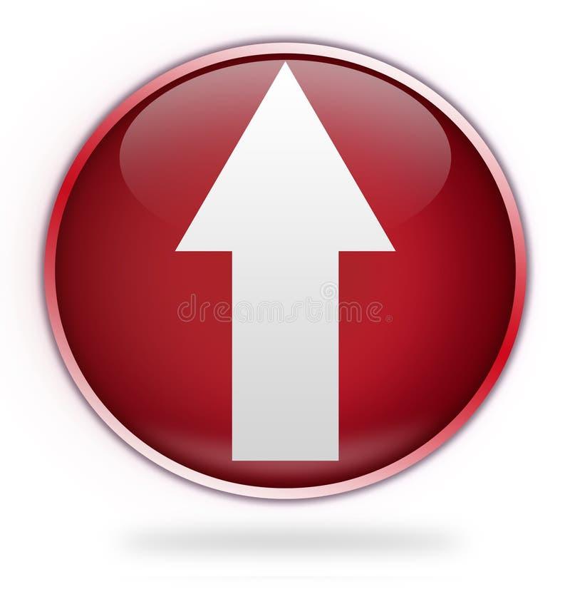 Het cirkel rood uploadt knoop stock illustratie