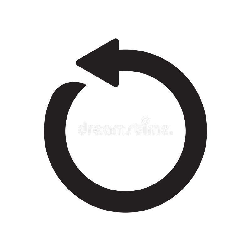 Het cirkel vectordieteken en het symbool van het pijlpictogram op witte bac wordt geïsoleerd royalty-vrije illustratie