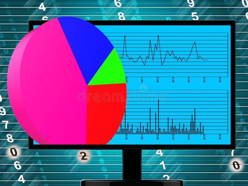 Het Cirkeldiagram vertegenwoordigt online Financieel verslag en Web stock illustratie