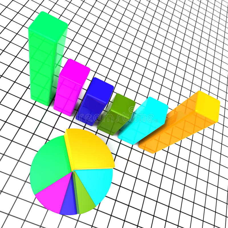 Het Cirkeldiagramrapport betekent Gegevensrapporten en Grafiek vector illustratie