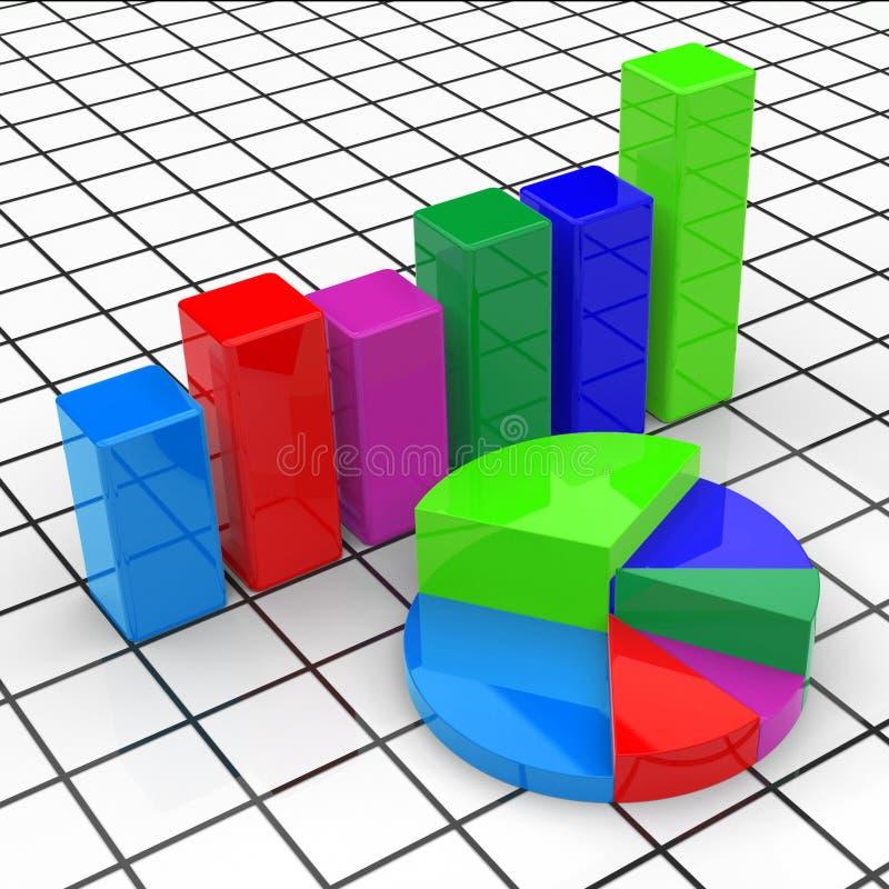 Het Cirkeldiagramrapport vertegenwoordigt Bedrijfsgrafiek en Diagram stock illustratie