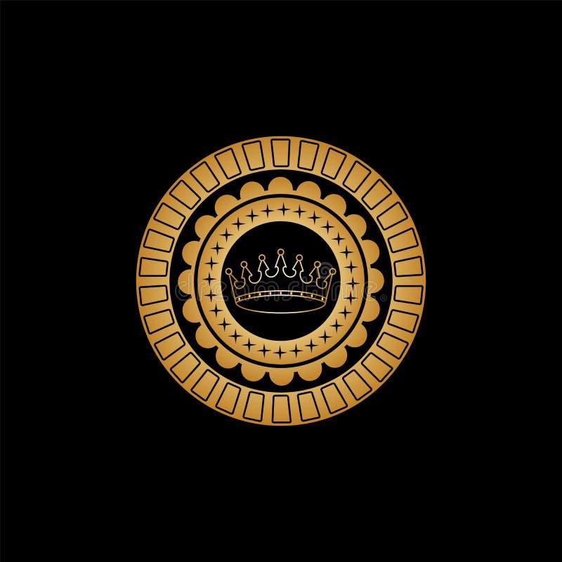 Het cirkelornament met een bloempatroon, de kleine vier-gerichte asterisken en een goud bekronen in het centrum stock illustratie