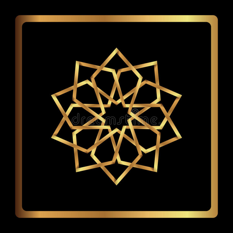 Het cirkelpatroon wordt gebruikt om schotels, kleren, en andere doeleinden te ontwerpen Geometrisch pictogram negen gerichte goud royalty-vrije illustratie