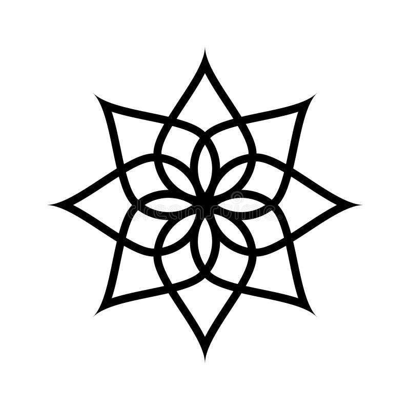 Het cirkelpatroon wordt gebruikt om schotels, kleren, en andere doeleinden te ontwerpen Geometrisch pictogram Zeven gerichte ster royalty-vrije illustratie