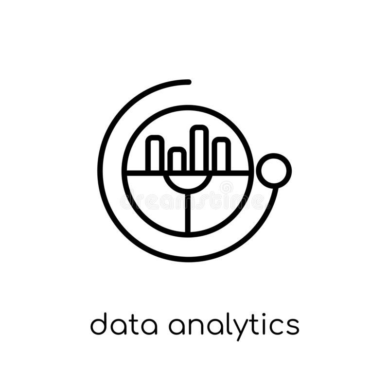 Het cirkelpictogram van gegevensanalytics In moderne vlakke lineaire vectord royalty-vrije illustratie