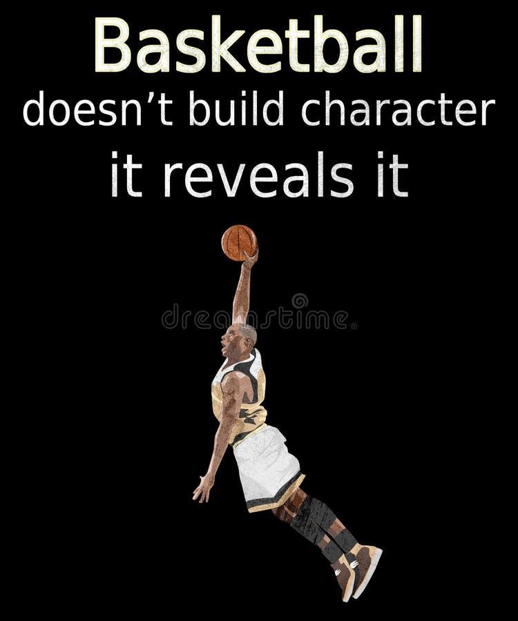 Het citaat die van het basketbalkarakter hoepels schieten stock illustratie