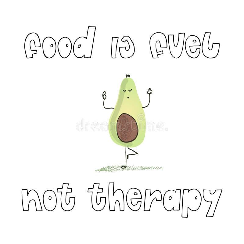 Het citaat getrokken grappige avocado Uit de vrije hand en tekst van het voedselconcept vector illustratie