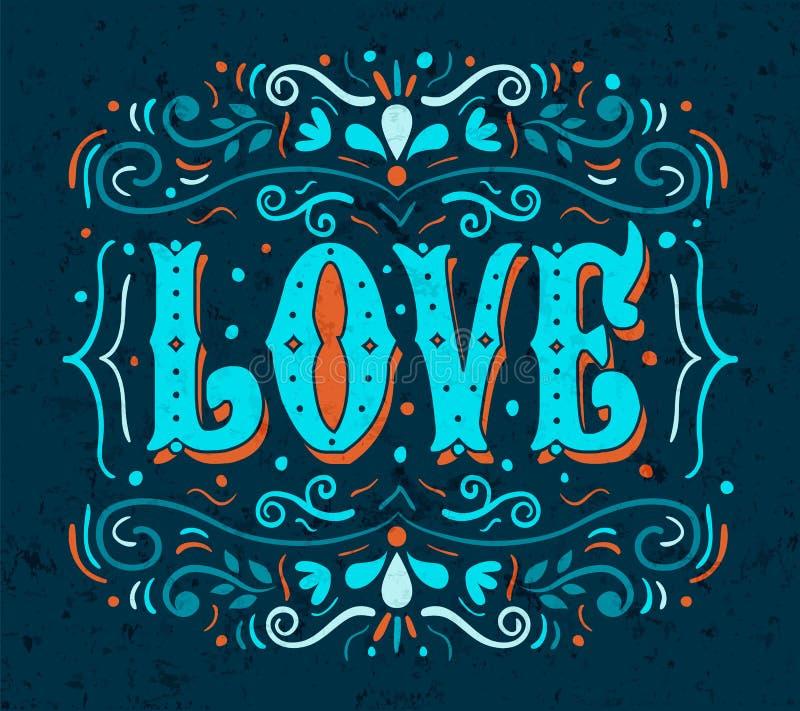 Het citaat Romaans concept van de liefdetypografie royalty-vrije illustratie