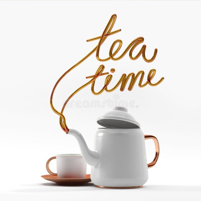 Het citaat van de theetijd met theepot en kop 3D teruggevende 3D illustratie stock foto's