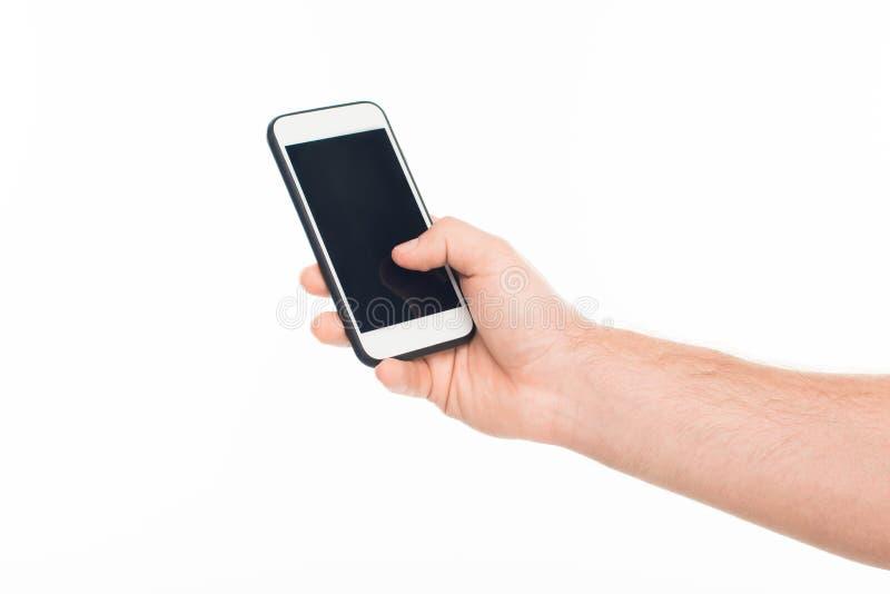 Het 'close-up bebouwde de holdingssmartphone van de menings menselijke hand met het lege die scherm, op wit wordt geïsoleerd royalty-vrije stock afbeeldingen