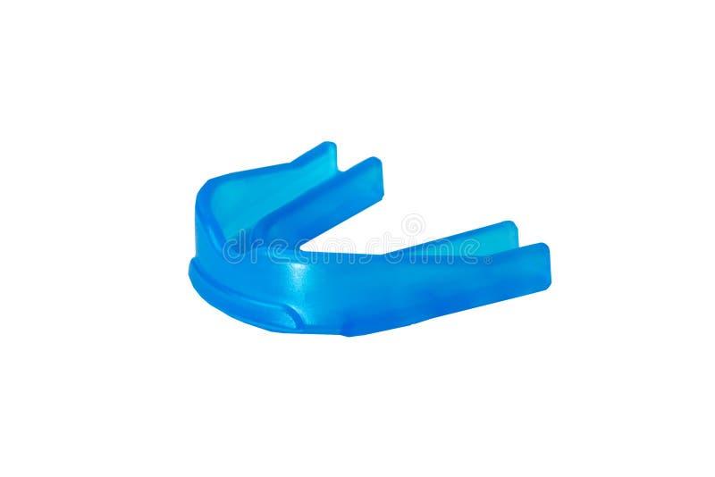 Het close-up isoleerde blauw gom-schild voor de tanden van de beschermingsatleet ` s stock afbeeldingen