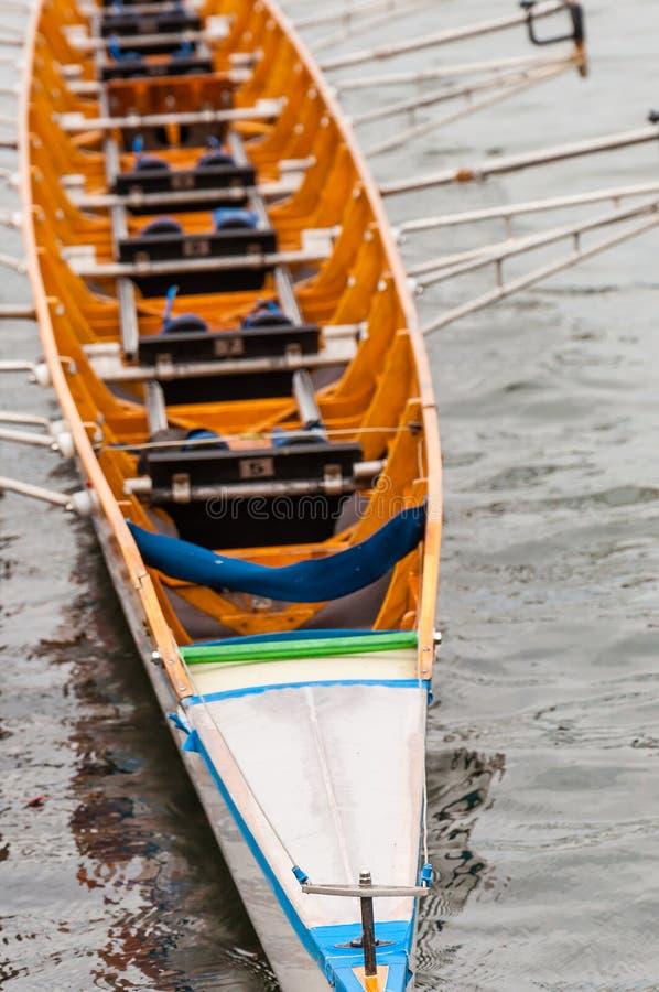 Het close-up van acht dat een het roeien boot is gebruikte in de sport van het concurrerende roeien Het wordt ontworpen voor acht stock foto