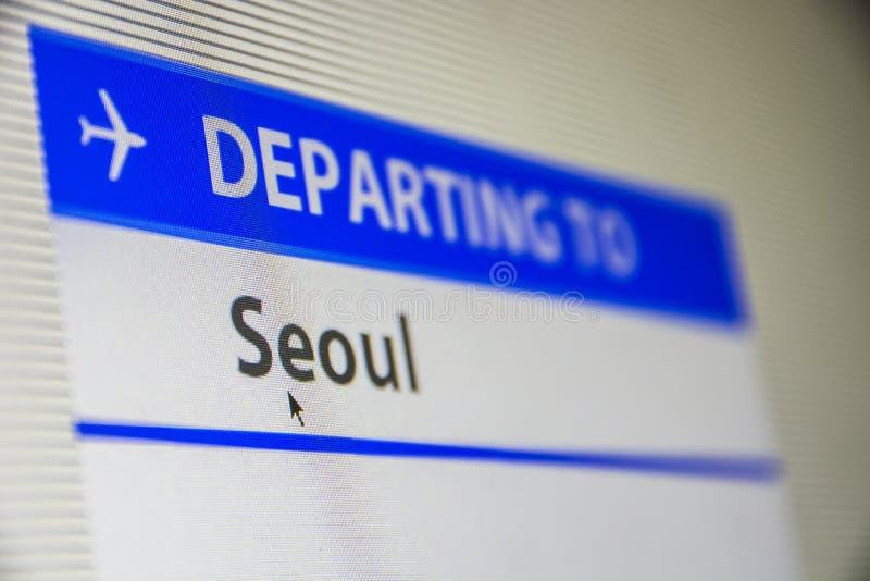 Het close-up van het computerscherm van vlucht aan Seoel stock afbeeldingen
