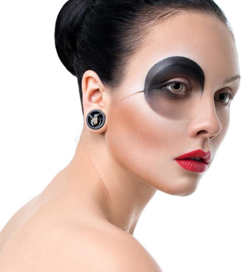 Het close-up van mooi vrouwengezicht met creatieve manierkunst maakt stock afbeeldingen