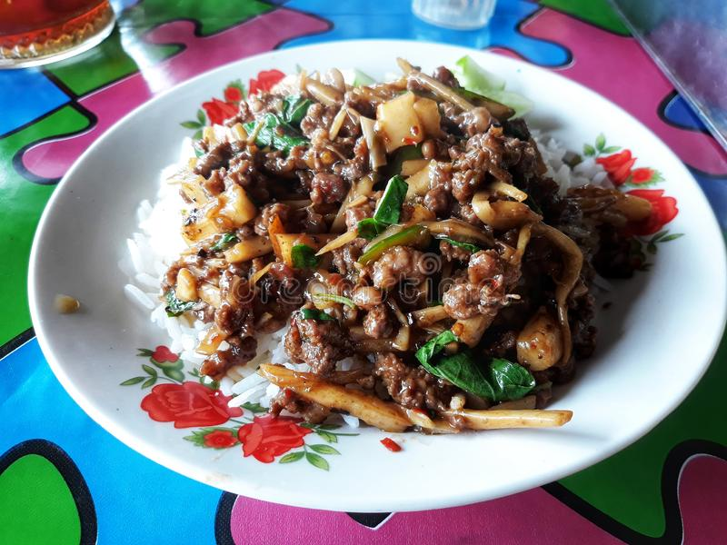 Het close-upbeeld van rundvlees, dat met Spaanse pepers wordt be*wegen-gebraden, voegt bamboespruiten toe die op gestoomde rijst, royalty-vrije stock foto's