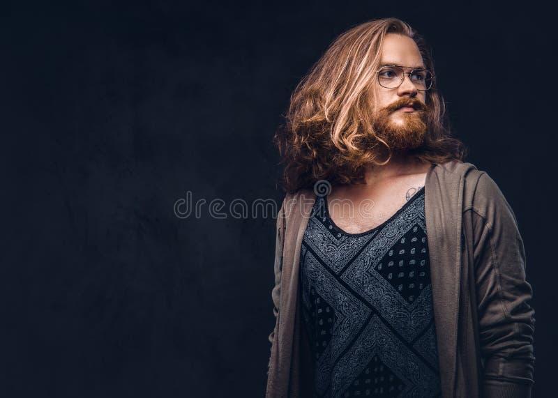 Het close-upportret van een roodharige hipster mannetje met lang luxuriant haar en volledige baard kleedde zich in vrijetijdskled stock afbeelding