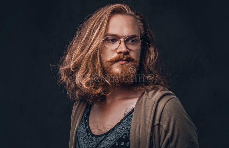 Het close-upportret van een roodharige hipster mannetje met lang luxuriant haar en volledige baard kleedde zich in vrijetijdskled royalty-vrije stock afbeelding
