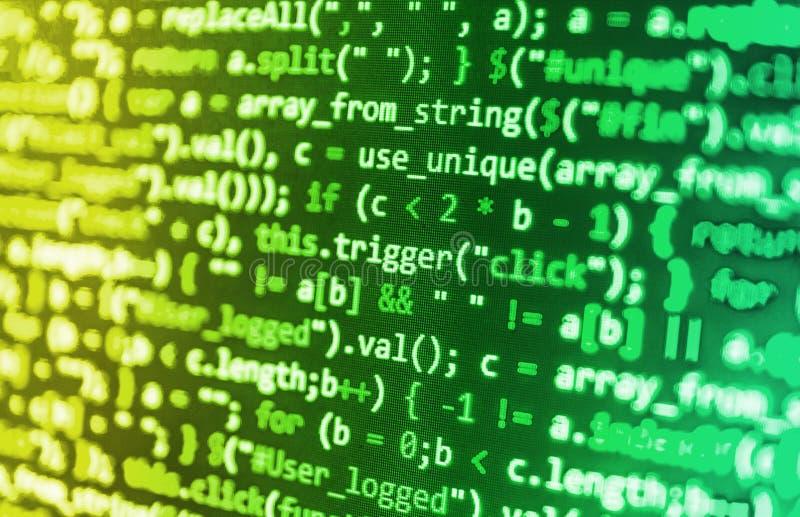 Het coderende programmerings broncodescherm stock afbeelding