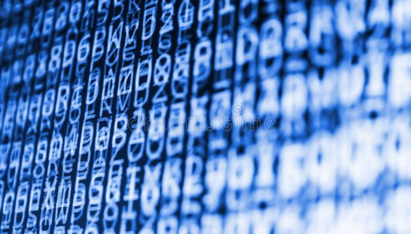 Het coderende programmerings broncodescherm Kleurrijke abstracte gegevensvertoning Het manuscript van het het Webprogramma van de royalty-vrije stock foto's