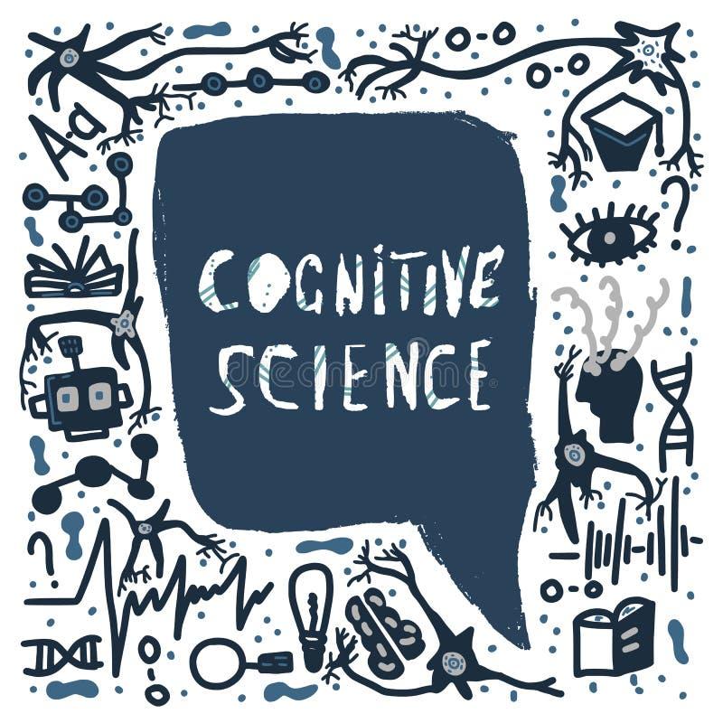 Het cognitieve wetenschap met de hand geschreven van letters voorzien royalty-vrije illustratie