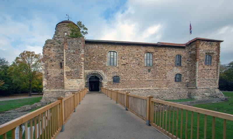 Het Colchesterkasteel houdt over gang bekeken stock afbeeldingen