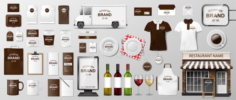 Het collectieve het Brandmerken ontwerp van het identiteitsmalplaatje voor restaurantkoffie, Koffie, Snel voedsel Realistische re stock afbeelding