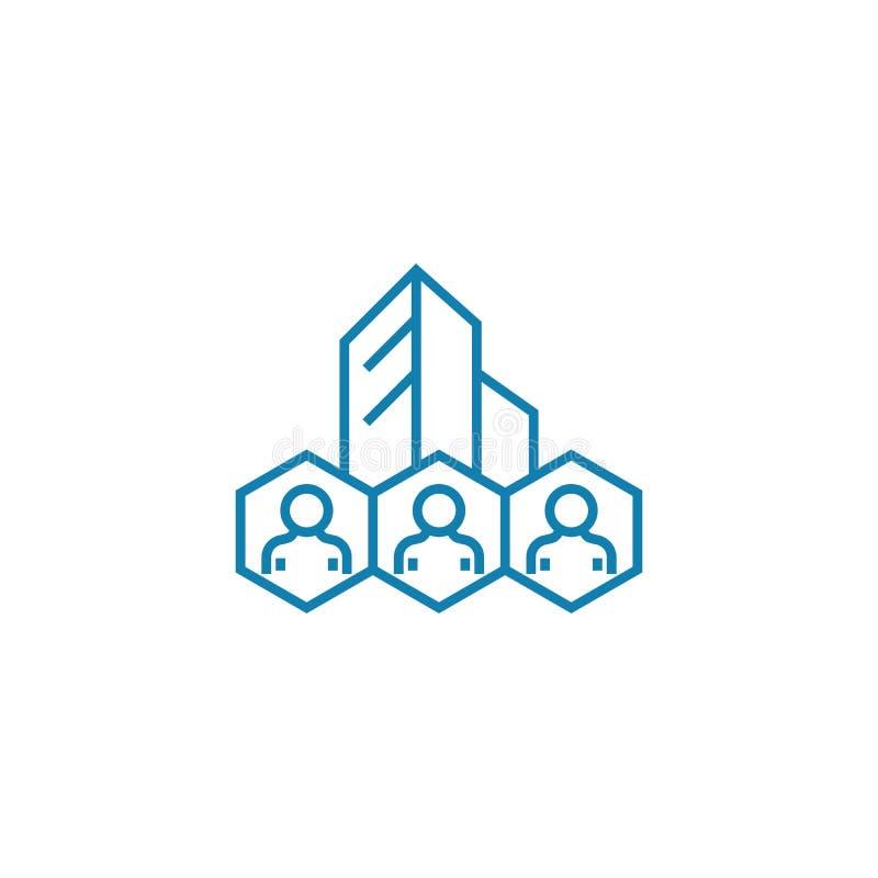 Het collectieve concept van het personeels lineaire pictogram Het collectieve vectorteken van de personeelslijn, symbool, illustr vector illustratie
