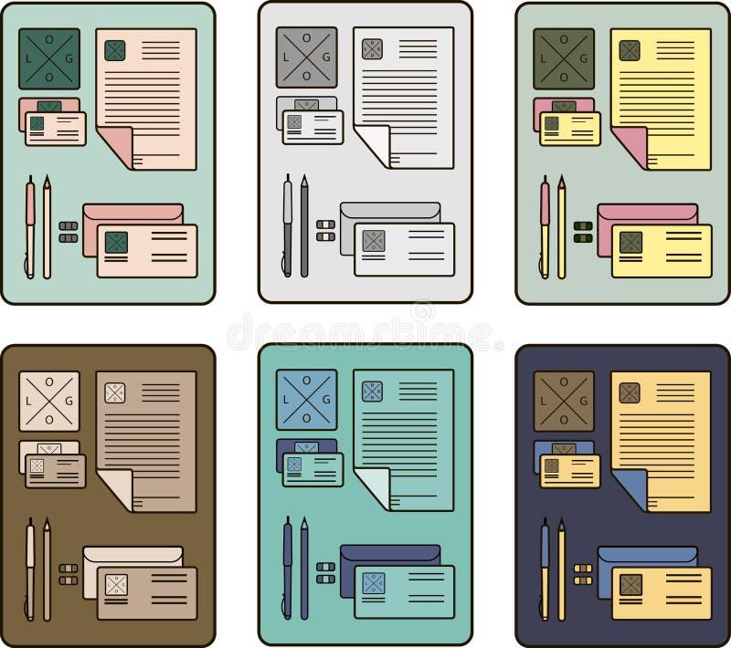 Het collectieve ontwerp van identiteitspictogrammen met abstract element Moderne abstracte bedrijfs vastgestelde kantoorbehoeften vector illustratie