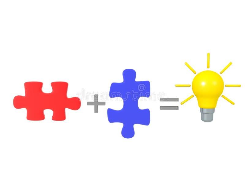Het combineren van twee puzzelstukjes creëert een geweldig idee royalty-vrije illustratie