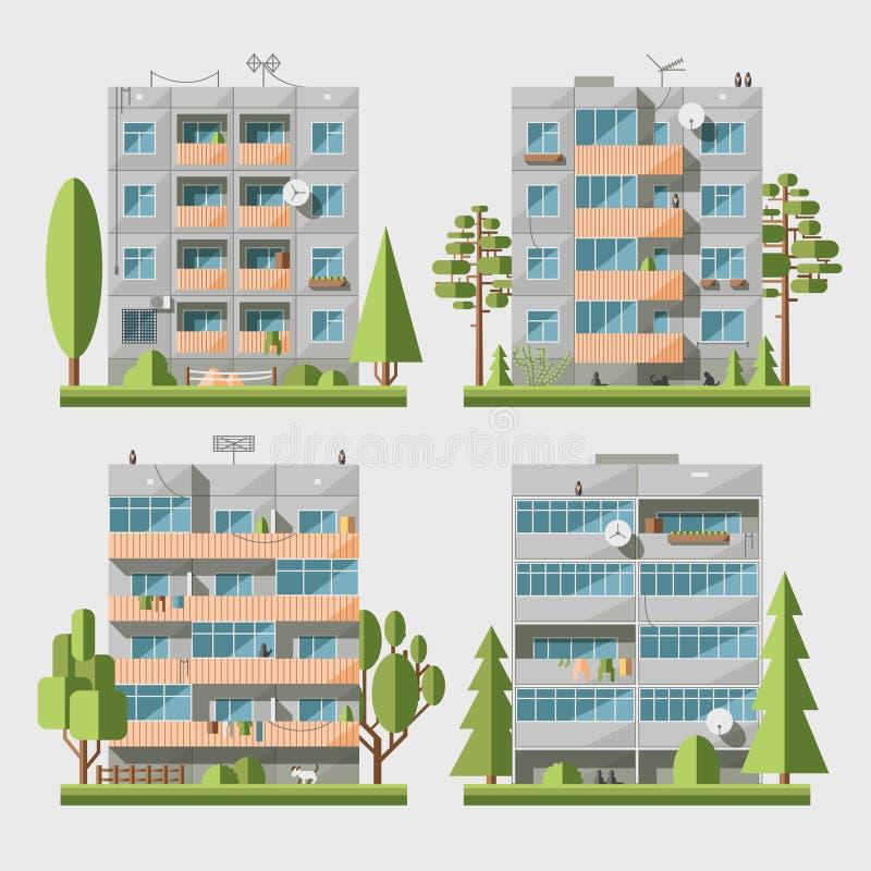 Het Comité huisvest vlakke set2 vector illustratie