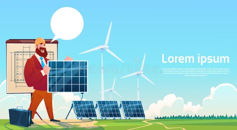 Het Comité van de de Turbine Zonne-energie van de mensenwind Vernieuwbare Postpresentatie vector illustratie