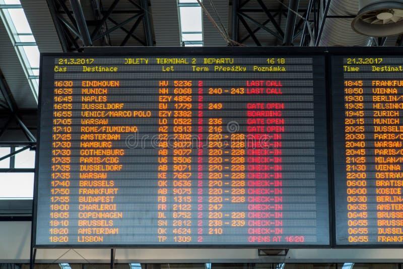 Het Comité van de vluchtinformatie stock foto