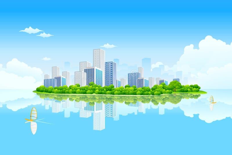 Het commerciële Landschap van de Stad royalty-vrije illustratie