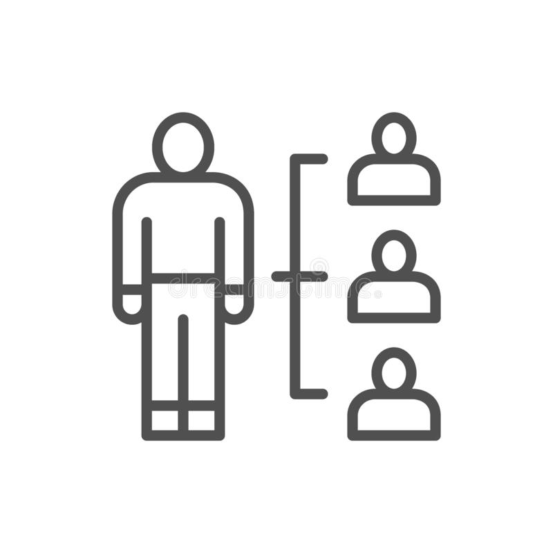 Het commerci?le team, mensen groepeert zich, menselijk middelbeheer, het pictogram van de rekruteringslijn vector illustratie