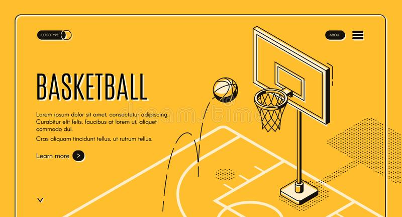 Het commerciële vectorlandingspagina van het basketbalhof vector illustratie