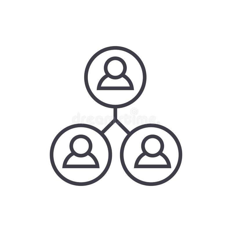 Het communautaire pictogram van de gebruikers vectorlijn, teken, illustratie op achtergrond, editable slagen stock illustratie