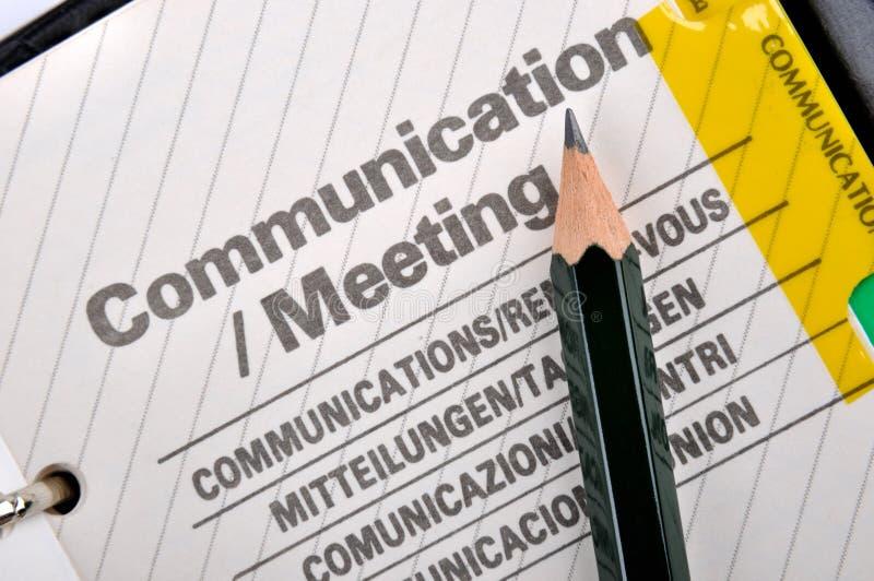 Het communicatie verslag van het potlood en stock foto