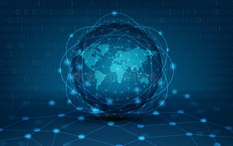 Het communicatienetwerkkaart van de netwerk globale Aarde van van de van de achtergrond wereld Blauwe kaart Donkerblauwe vector g royalty-vrije illustratie