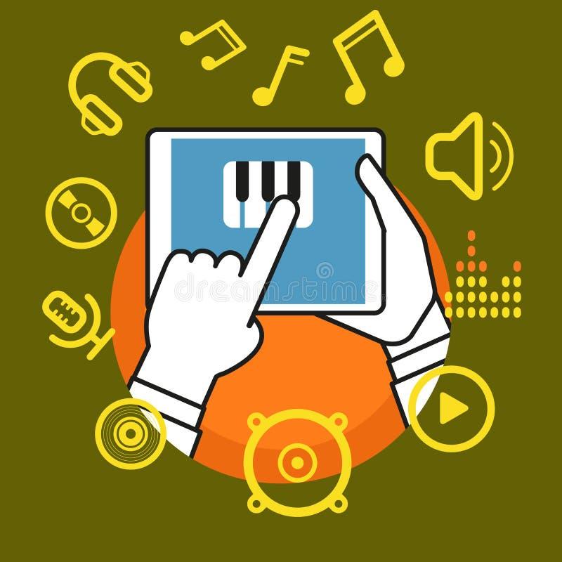 Het communiceren via moderne smartphone vector illustratie