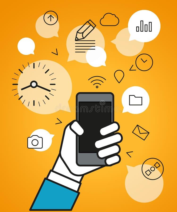 Het communiceren via moderne smartphone stock illustratie