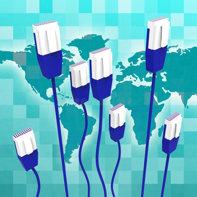 Het computernetwerk betekent Globale Mededelingen en Kabel royalty-vrije illustratie