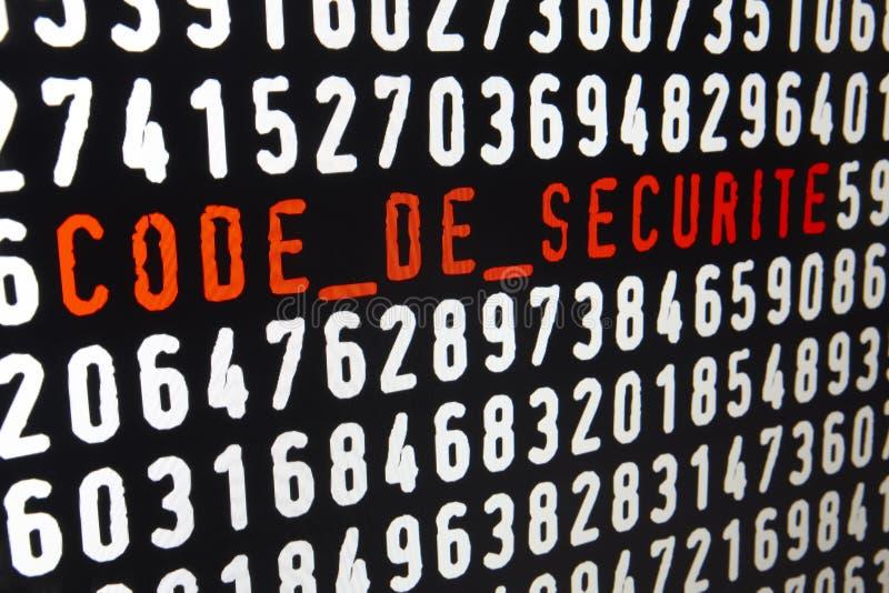 Het computerscherm met code DE securite tekst en aantallen stock illustratie