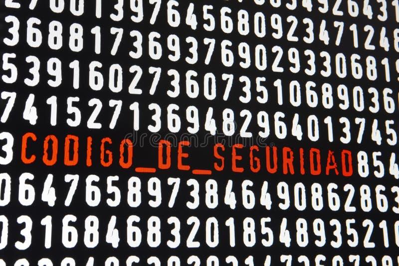 Het computerscherm met codigo DE seguridad tekst op zwarte backgroun stock illustratie