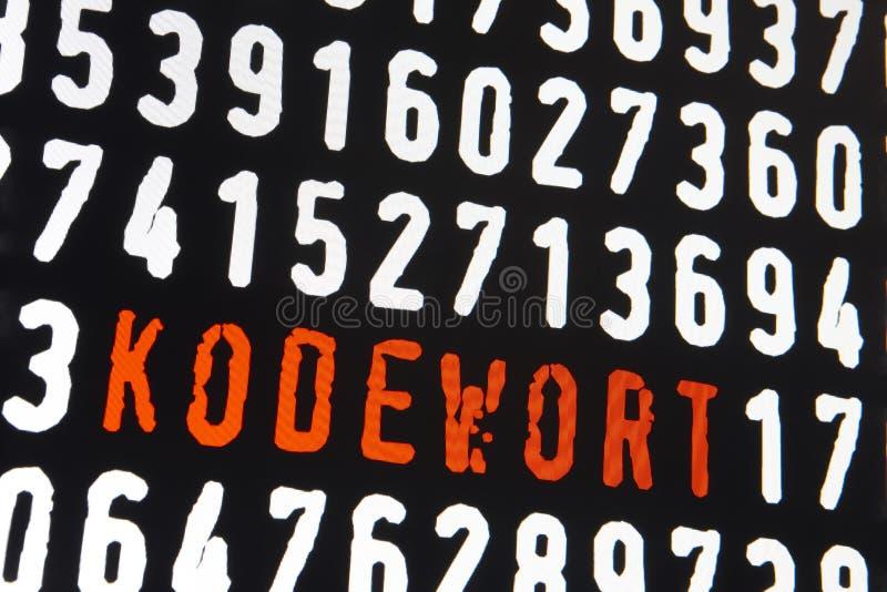 Het computerscherm met kodeworttekst op zwarte achtergrond royalty-vrije stock foto's