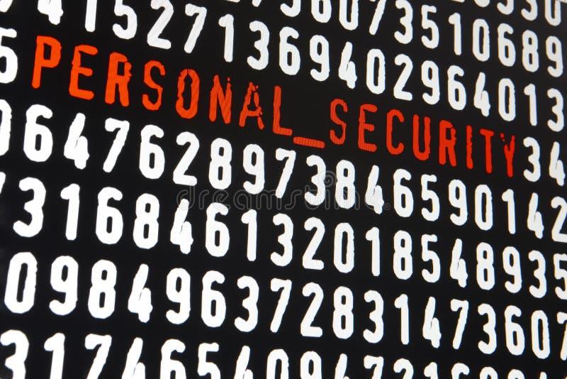 Het computerscherm met persoonlijke veiligheidsteksten op zwarte achtergrond royalty-vrije illustratie