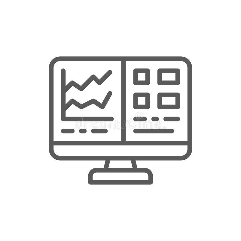 Het computerscherm met spreadsheet, de lijnpictogram van het financiële boekhoudingsrapport vector illustratie