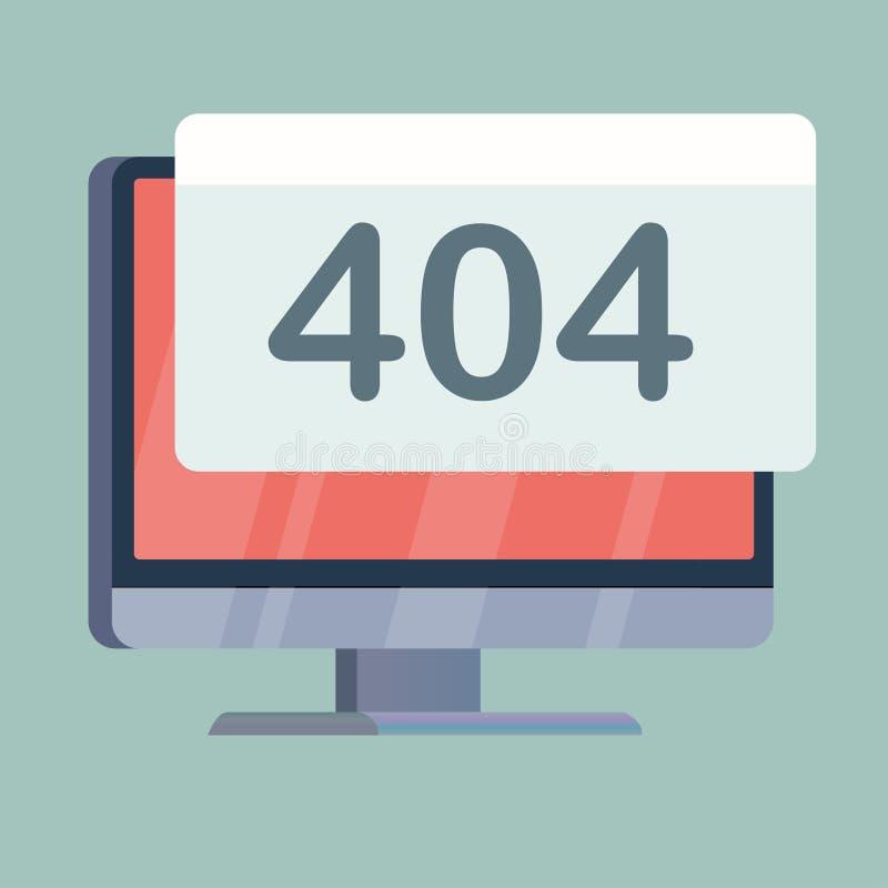 het computerscherm met waakzame waarschuwing 404  stock illustratie